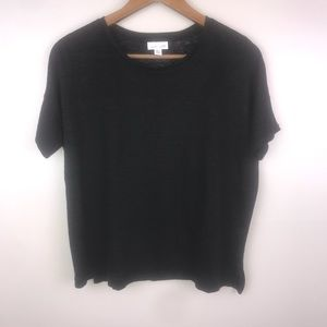 J.JILL Love Linen Black Short Sleeve Box Shirt